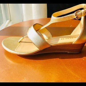 Gold Coach Leather Sandals
